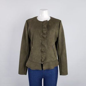 Westport Olive Faux Suede Ruffle Jacket Size M
